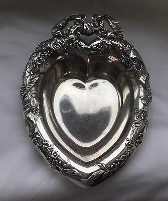 Vintage Retro Reed & Barton Silver Plated Floral Bow Heart Shaped Trinket Dish