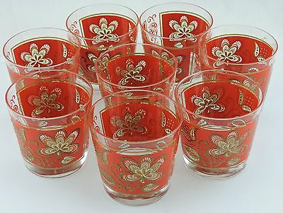 Vintage Libbey Glass Set 8 Red Gold Floral Rock/brandy/bourbon Or Water Barware
