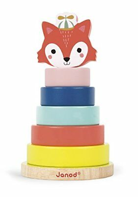 Janod Baby Forest Fox Stacker Toy Sorting Stacking Baby Toys, New