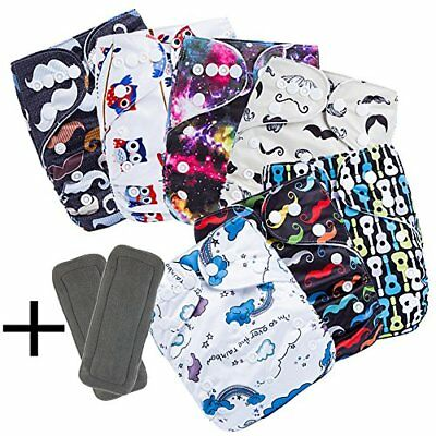 Reusable and Washable Pocket baby Cloth Diaper Nappy 7 Diaper Covers 9 FREE Inse