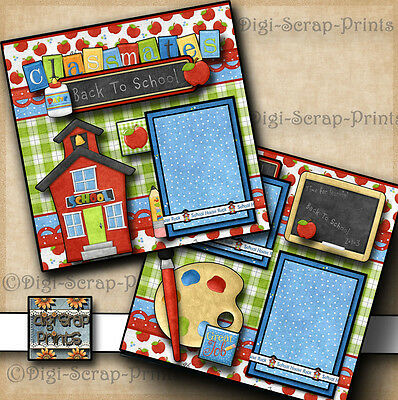 BACK TO SCHOOL ~ 2 premade scrapbooking pages paper  BOY GIRL layout ~ DIGISCRAP