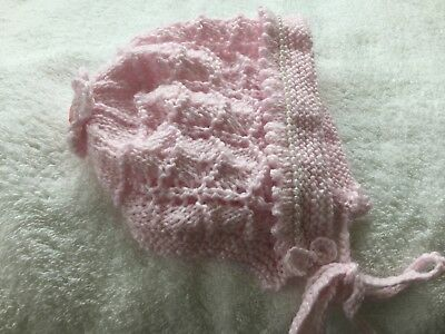 hand knitted baby hat/bonnet