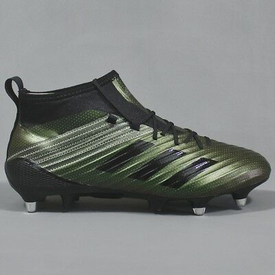 sale retailer 6f9c4 634b8 Adidas Predator Flare Soft Ground Rugby Boots Black   Green