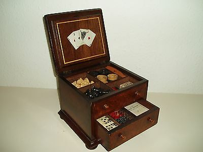 Antique Games Compendium Mahogany Box with Facsimile Horse race Boards