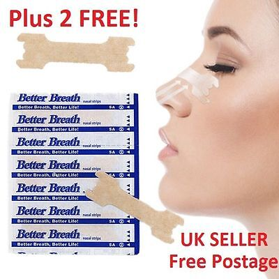 5 - 200 + 2 FREE* BETTER BREATH NASAL STRIPS Reg Large RIGHT WAY TO STOP SNORING