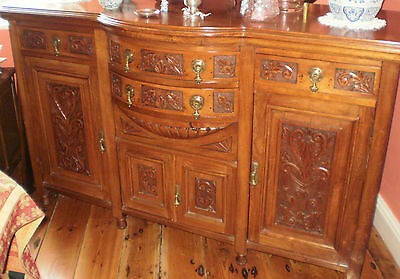 Antique Carved Sideboard and Six Laura Ashley Upholstered Dining Chairs