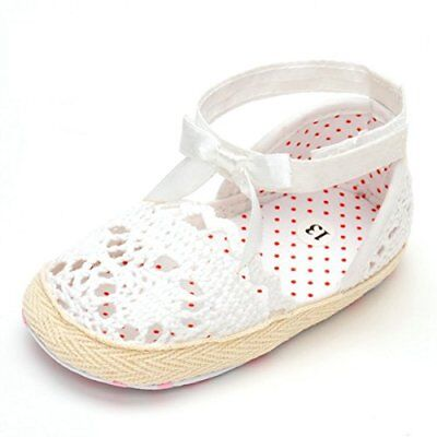 Infant Baby Soft Sole Non-slip Summer Floral Sandals 6-12 Months Knitted White A