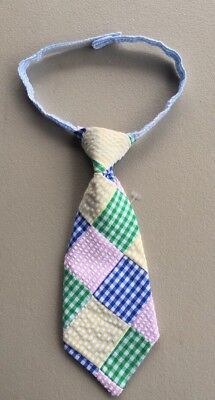 Mud Pie Baby Boy  Sunday Best Tie   Multi-Color Seersucker Patchwork  NEW