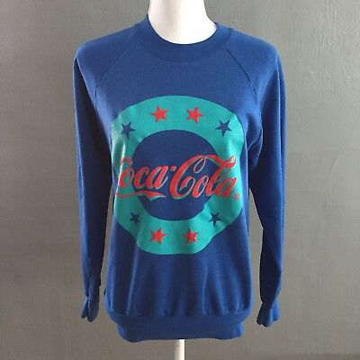 Vtg Coca Cola Crew neck Sweatshirt Blue Stars Made In USA Hipster 80's 90's Sz M