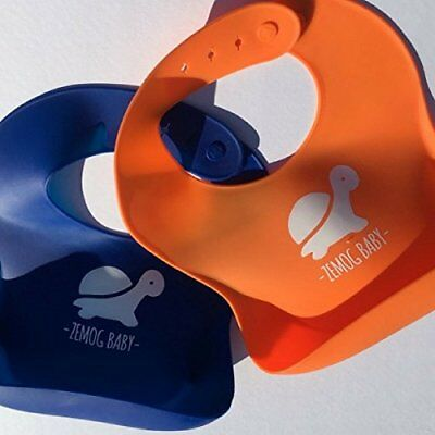 Soft Silicone Bib with Pocket Baby Easy Wipes Clean. Waterproof Bibs Keeps Stain