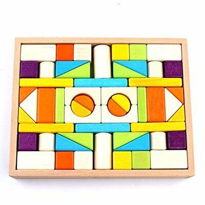 Wooden Blocks iPlay iLearn Colored wood block set Natural Wooden Stacking Cubes
