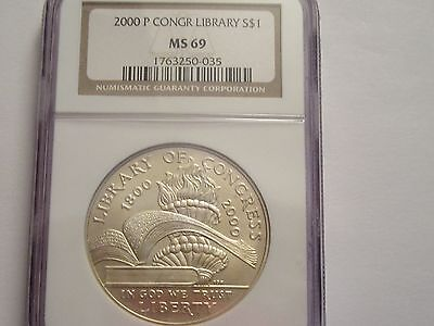 2000 P US Mint Silver Dollar, Library of Congress, NGC MS69