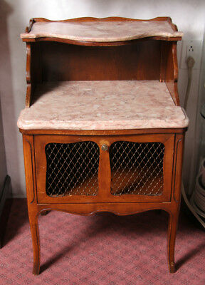 John Widdecomb Co Pair of Pink Marble Two-Tier Night Stands
