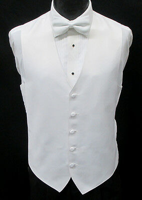 New White Satin Fullback Tuxedo Vest & Bow Tie Set Wedding Prom Mason Cruise