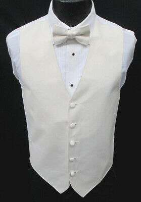 New Ivory Satin Fullback Tuxedo Vest & Tie Wedding Prom Formal Off-White Bone