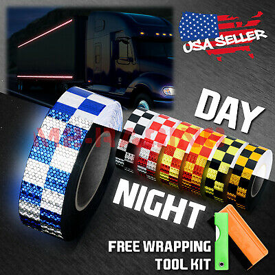 "*Checker Conspicuity Tape 2""x120' Reflective Safety Warning Sign Car Truck RV"