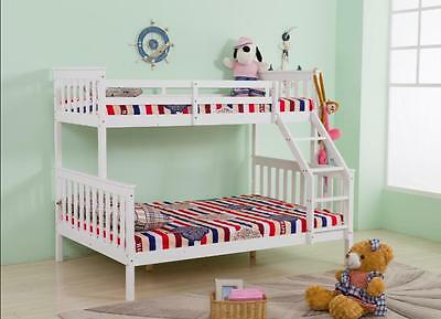 Quality White Pine Wood 3 Sleeper Triple Bunk Bed Double & Single Size Frame