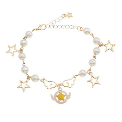 Anime Card Captor Sakura Bracelet Charm Metal Pearl Link Women Bangle Adjustable