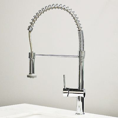 Polished Chrome Brass Kitchen Sink Pull Out Spray Single Handle Faucet MIxer Tap