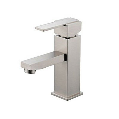 Brushed Nickel Brass Bathroom Basin Faucet Single Handle Hole Mixer Tap