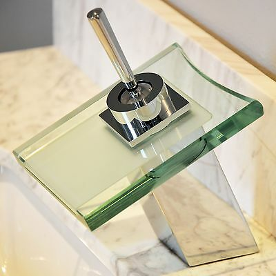 """7"""" Waterfall Square Glass Bathroom Basin Sink Tap Chrome Single Handle Faucet"""