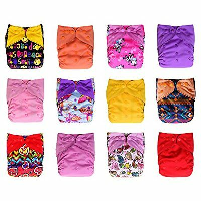 12-Pack Pocket Cloth Diapers 24 Inserts Bundle Set Charcoal Bamboo One Size 10-3