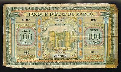 Morocco 1943 100 Francs Large Note