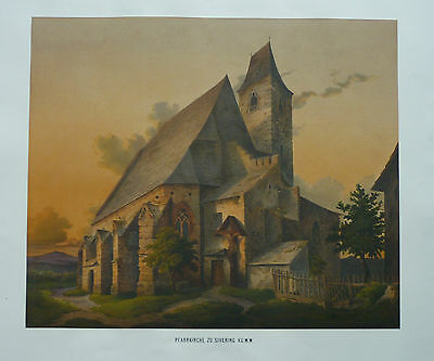 Grefe: Original Color Lithography Church Sievering Doebling Vienna, Austria;