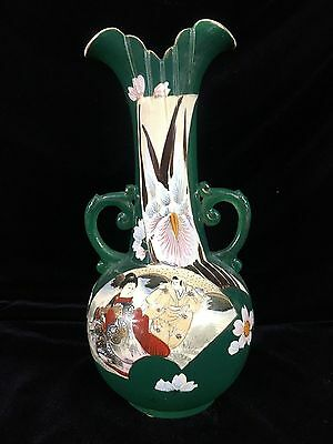 Figural Satsuma 2 Handle Vase with Man and Lady 12 inch Vase Repaired Handle