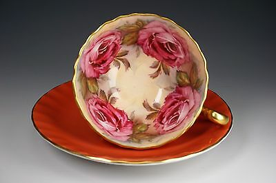 RARE Aynsley Hand Painted Large Roses Orange Gold Porcelain Tea Cup & Saucer