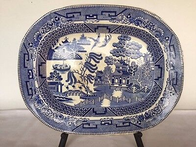 ANTIQUE ENGLISH BLUE WILLOW PLATTER by Edge, Malkin & Co Large from 1800's