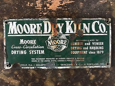 Antique Original Porcelain Advertising Sign Moore Dry Kiln Company Since 1879