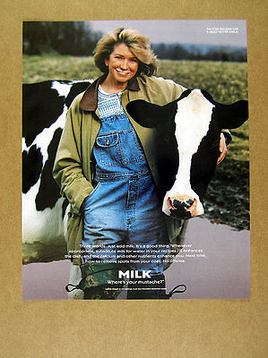 1997 Martha Stewart & Holstein Cow photo Milk Mustache promo vintage print Ad
