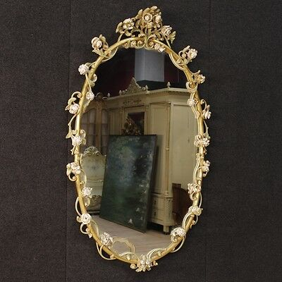 Mirror lacquered furniture antique style wood flowers antiques vintage 900