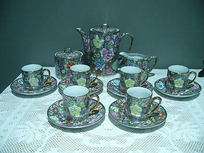 Vintage Chinese Hand Decorated Coffee Set - Famille Rose - Heavily Gilt - Vgc