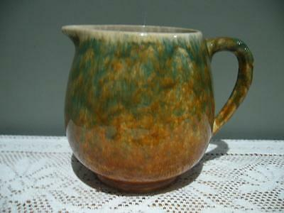 Vintage R Fowler Limited Drip / Speckle Glaze Pottery Jug - Twist Handle - Reas