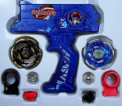 Beyblade Fusion Top Metal Master Fight Rare Gyro 4D Launcher Grip Toy Set(Blue)