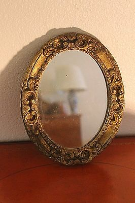 Antique Gilt Wood Gold Oval Wall Mirror Ornate Florentine French Victorian ITALY