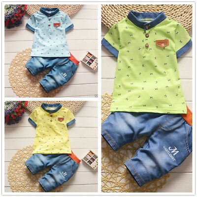 2pcs Toddler Baby Boys T-Shirt + Denim Shorts Set Kids Casual Clothes Outfits