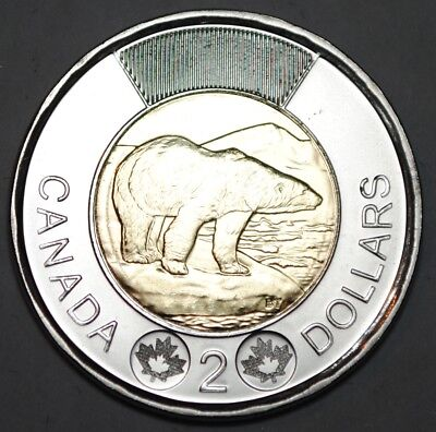 Canada 2017 2 Dollar BU Canadian Toonie Classic Polar Bear Uncirculated Coin