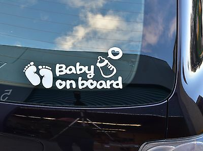 3x Cool Baby On Board Footprint Vinyl Car Sticker Decal Sign Window Kids Safety