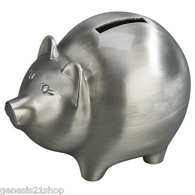 Classic Piggy Bank Metal has a Non Tarnish Brushed Pewter Finish