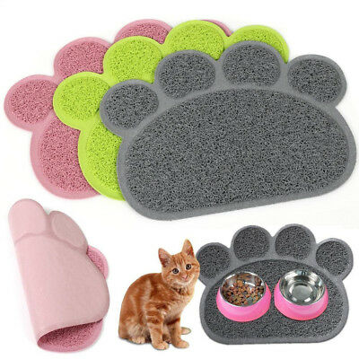 Paw Print Dog Cat Litter Mat Puppy Kitty Dish Feed Bowl Tray Tidy Clean 3 Colors
