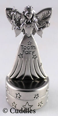 Tooth Fairy Box Hinged Silver Color Stars Wand Wings Ganz NEW
