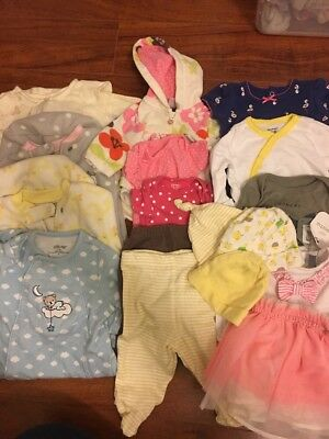 17 PIECES OF BABY CLOTHING, Sized NB To 9 Months, Great For Newborns, BABY GIRL