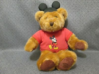"Disney Store T-shirt Bear with Classic Black Mickey Mouse Ears 18"" w/ Tag Plush"