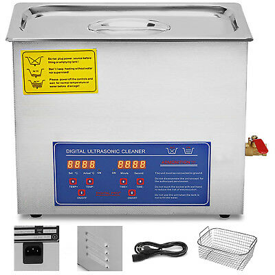 New Stainless Steel 10 L Liter Industry Heated Ultrasonic Cleaner Heater w/Tank