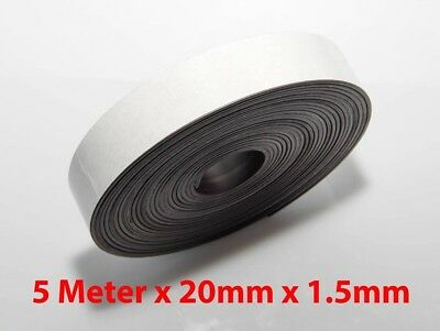 5M X 20mm Flexible Self Adhesive Magnet Rubber Tape Magnetic Roll Craft Strip