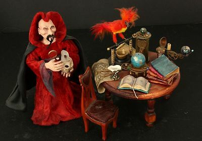 Red Cloaked Evil Sorcerer with steampunk Laboratory Equipment OOAK