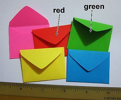 "Handmade small envelopes 1-1/2""x2"" tiny little mini CHRISTMAS RED GREEN cute"